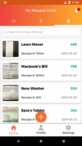 store receipts in reward cards app