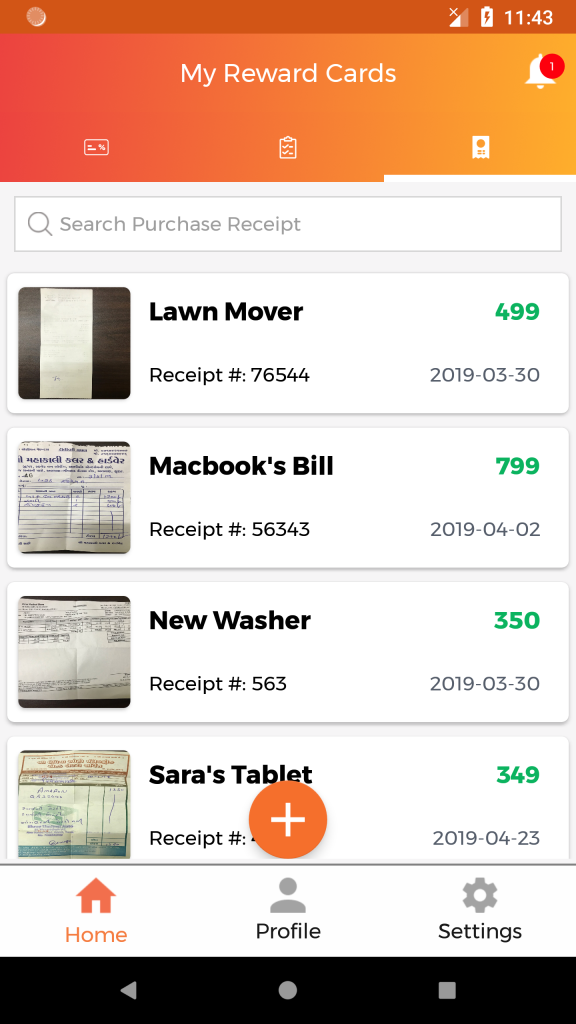 store payment receipts in reward cards app